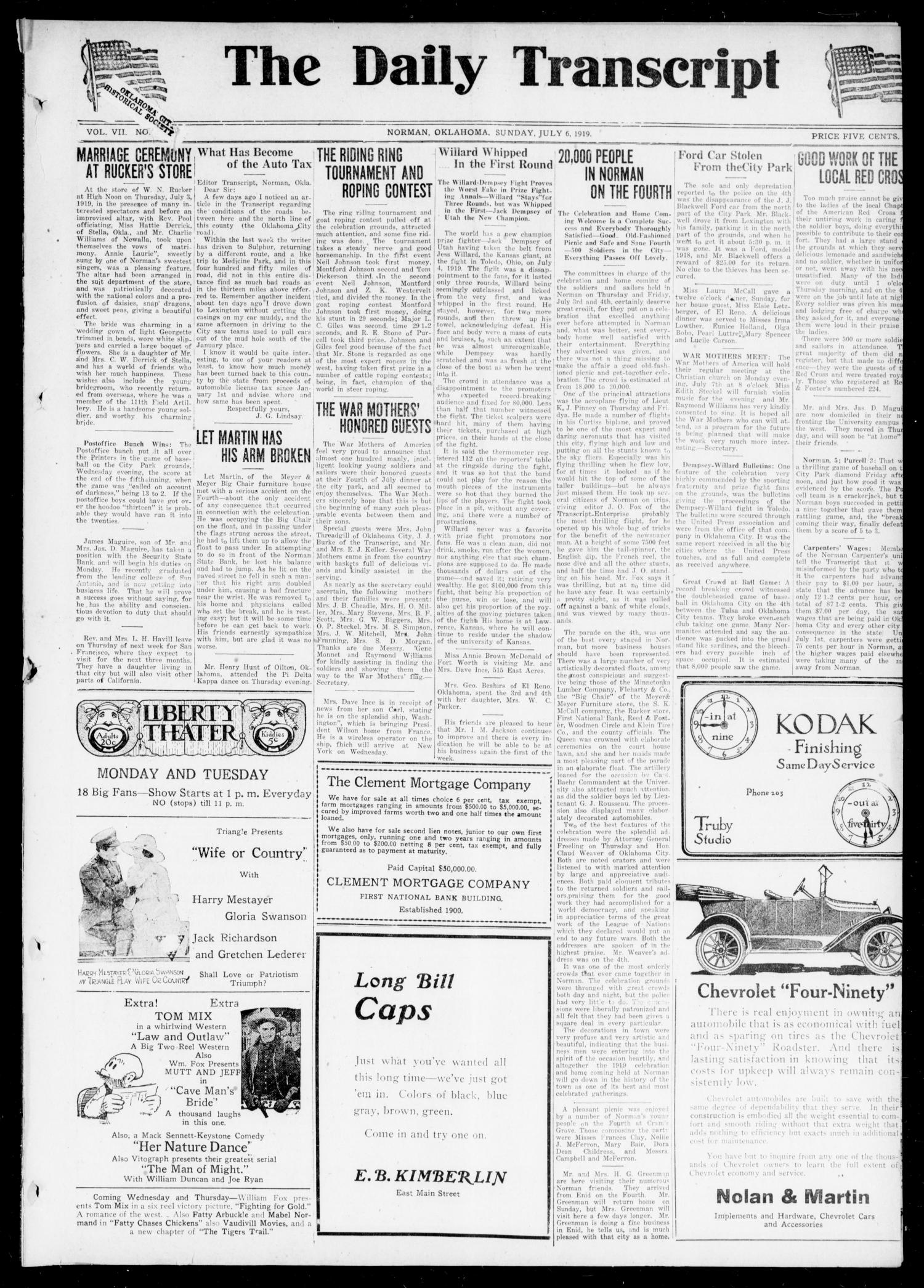 The Daily Transcript  (Norman, Okla.), Vol. 7, No. 82, Ed. 1 Sunday, July 6, 1919                                                                                                      [Sequence #]: 1 of 4