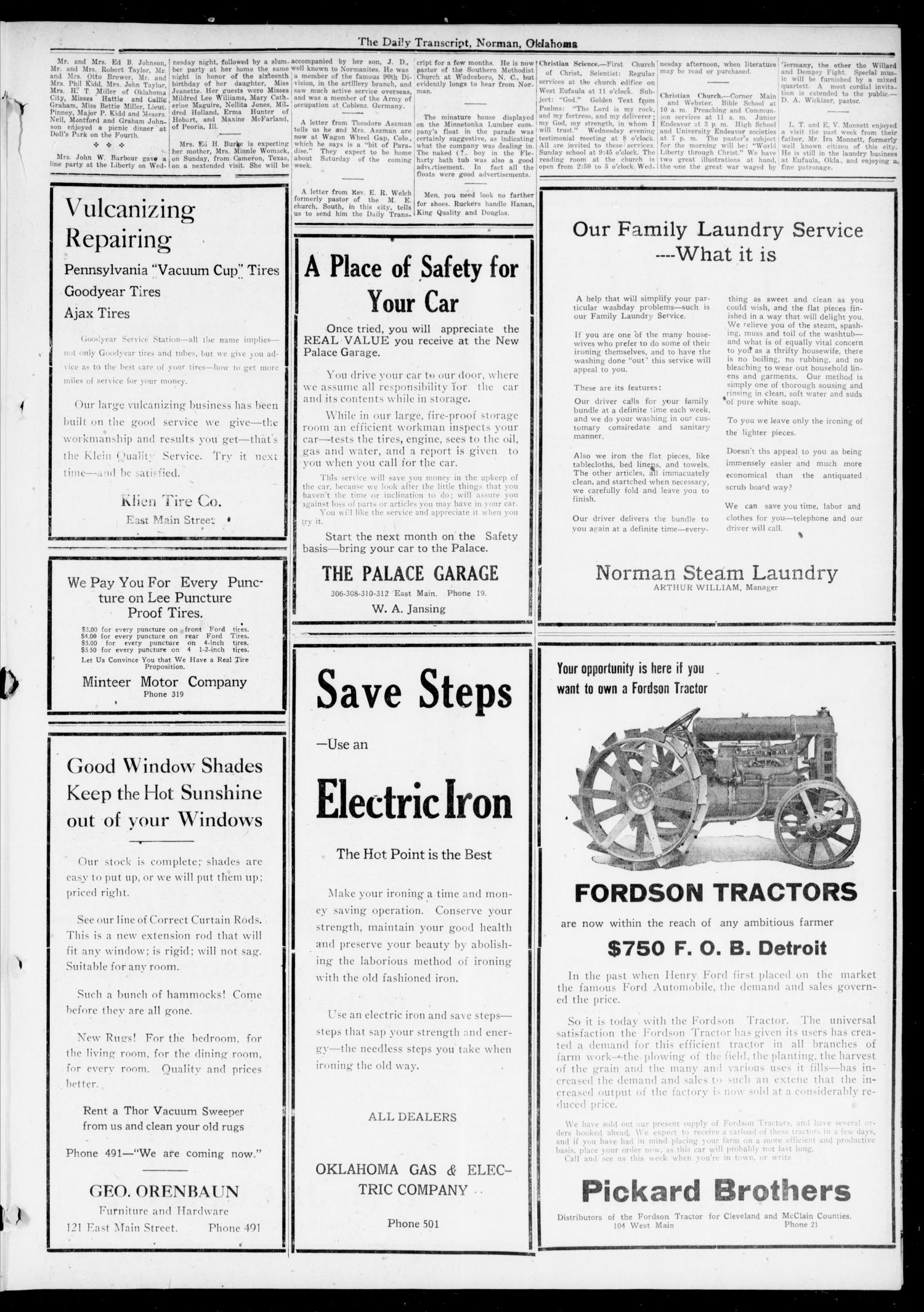 The Daily Transcript  (Norman, Okla.), Vol. 7, No. 82, Ed. 1 Sunday, July 6, 1919                                                                                                      [Sequence #]: 3 of 4