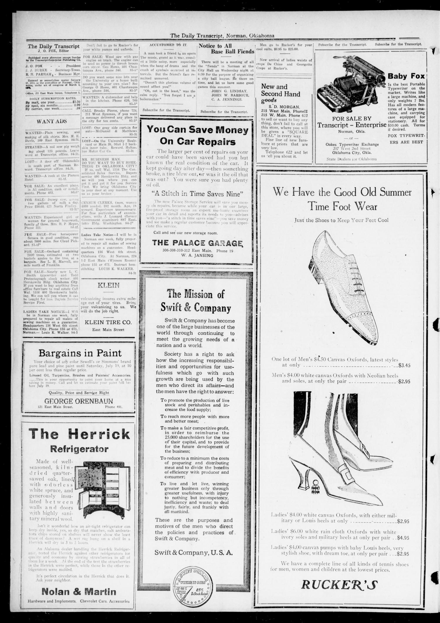 The Daily Transcript  (Norman, Okla.), Vol. 7, No. 85, Ed. 1 Wednesday, July 9, 1919                                                                                                      [Sequence #]: 2 of 4