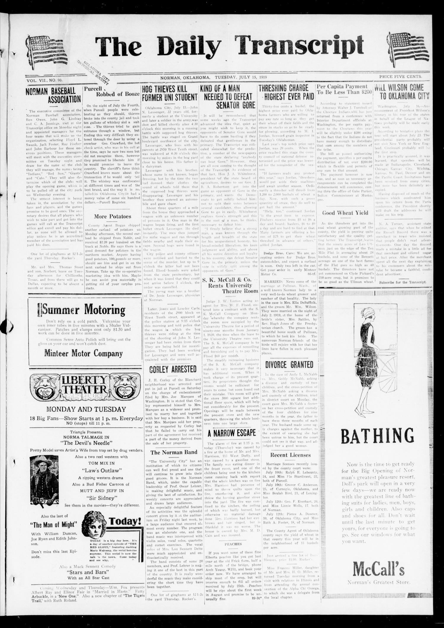 The Daily Transcript  (Norman, Okla.), Vol. 7, No. 90, Ed. 1 Tuesday, July 15, 1919                                                                                                      [Sequence #]: 1 of 4