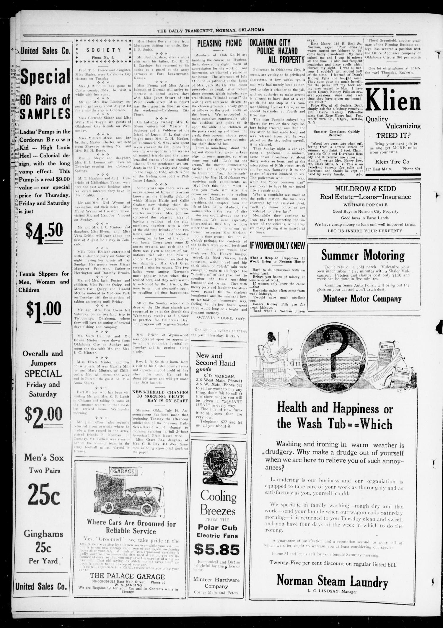 The Daily Transcript  (Norman, Okla.), Vol. 7, No. 91, Ed. 1 Wednesday, July 16, 1919                                                                                                      [Sequence #]: 4 of 4
