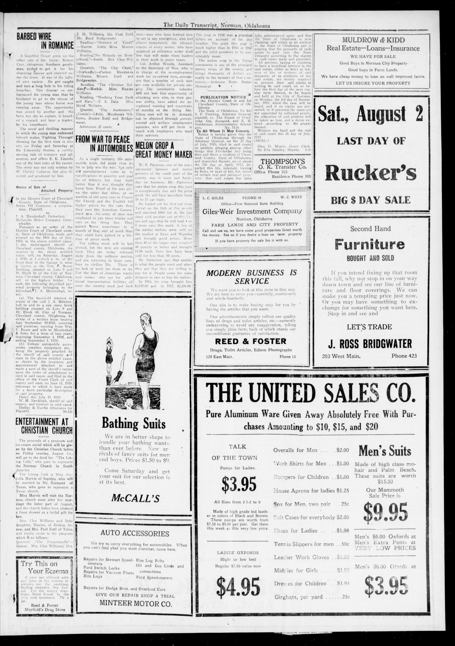 The Daily Transcript  (Norman, Okla.), Vol. 7, No. 105, Ed. 1 Friday, August 1, 1919                                                                                                      [Sequence #]: 3 of 4