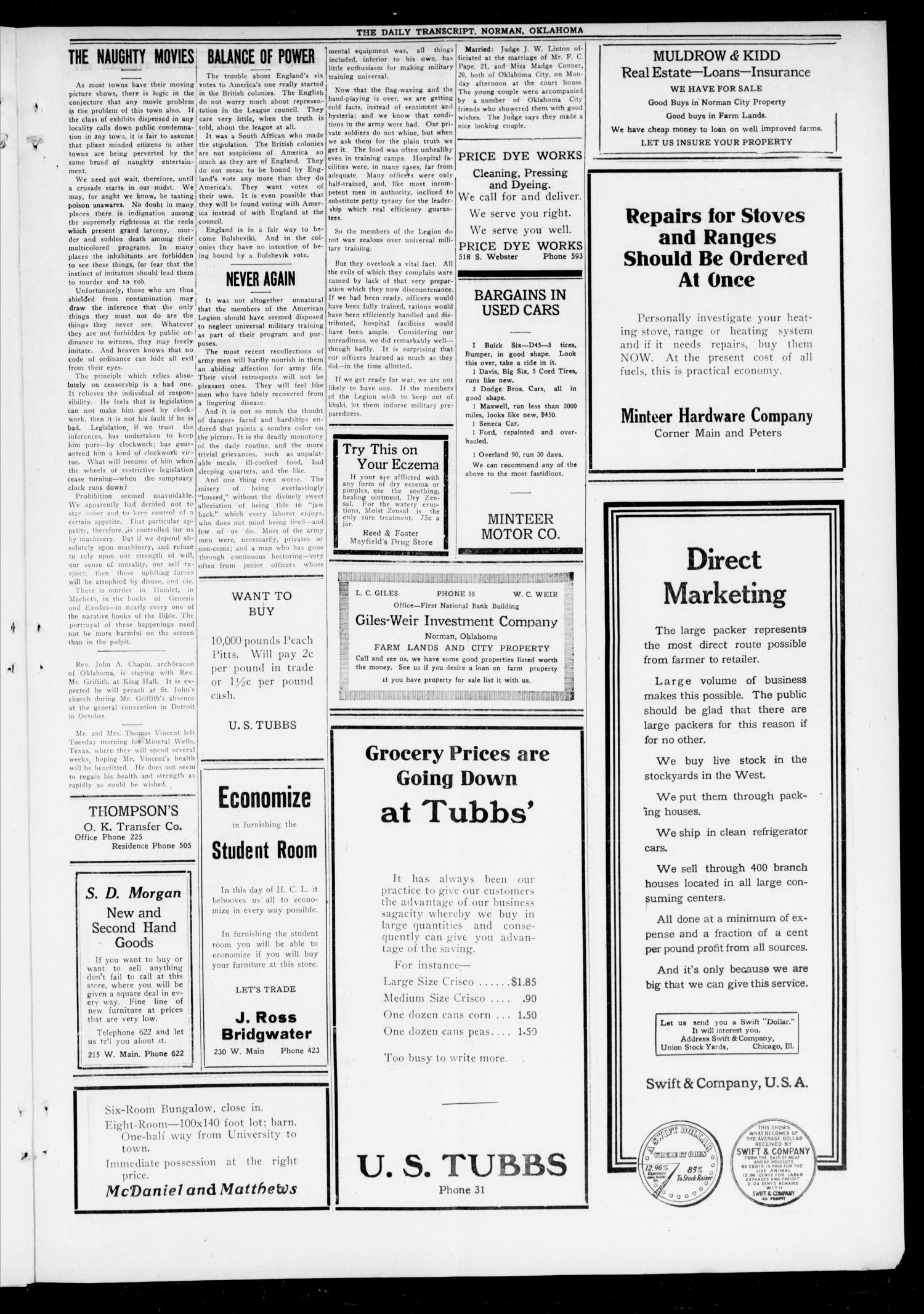 The Daily Transcript  (Norman, Okla.), Vol. 7, No. 142, Ed. 1 Tuesday, September 16, 1919                                                                                                      [Sequence #]: 3 of 8