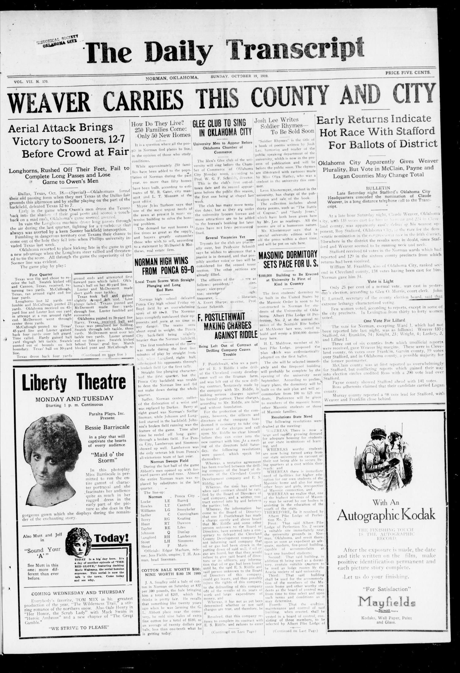 The Daily Transcript  (Norman, Okla.), Vol. 7, No. 170, Ed. 1 Sunday, October 19, 1919                                                                                                      [Sequence #]: 1 of 8