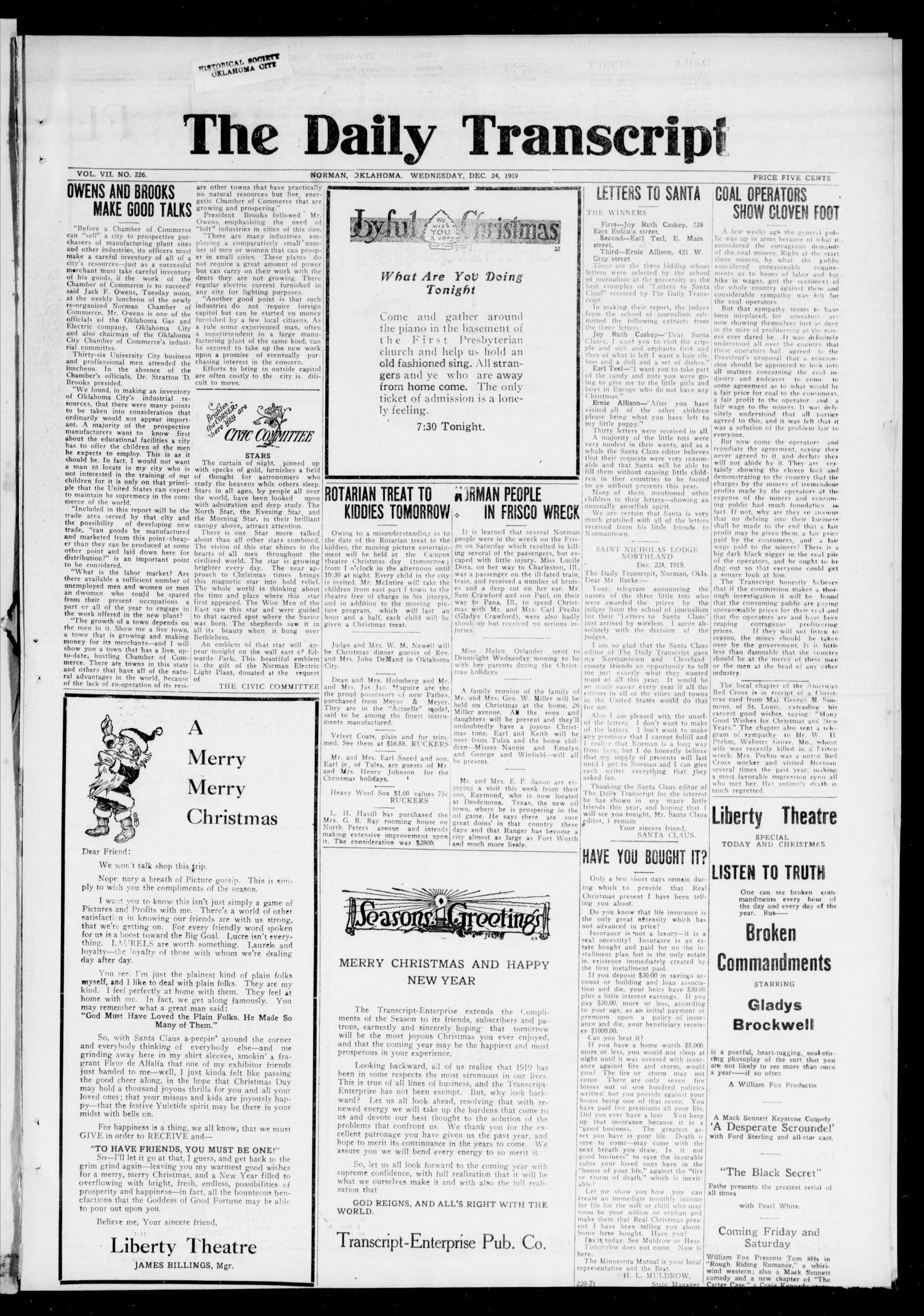 The Daily Transcript  (Norman, Okla.), Vol. 7, No. 226, Ed. 1 Wednesday, December 24, 1919                                                                                                      [Sequence #]: 1 of 4