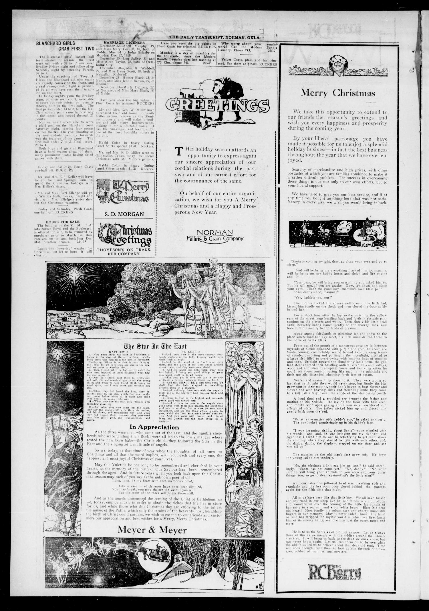 The Daily Transcript  (Norman, Okla.), Vol. 7, No. 226, Ed. 1 Wednesday, December 24, 1919                                                                                                      [Sequence #]: 4 of 4