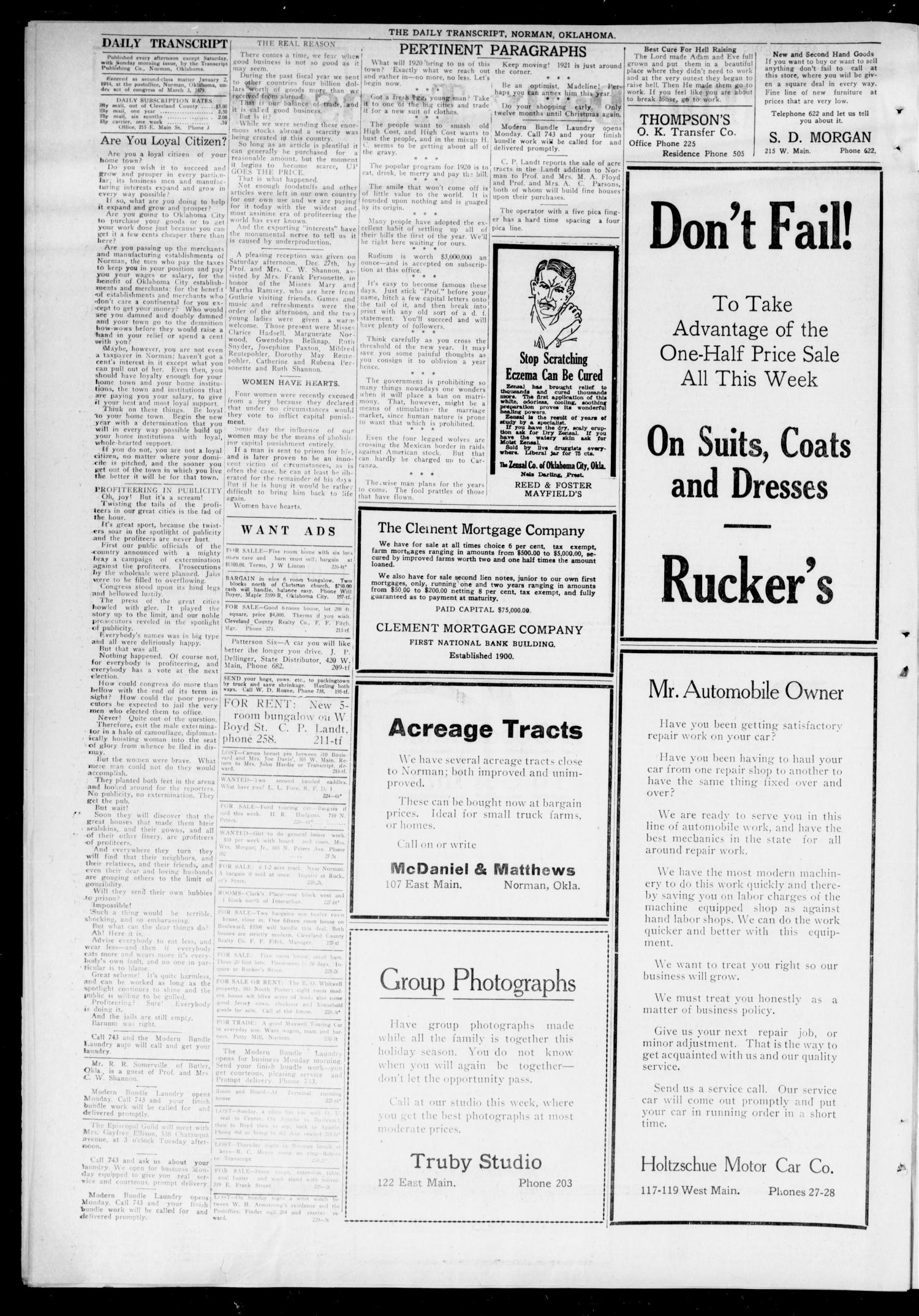 The Daily Transcript  (Norman, Okla.), Vol. 7, No. 229, Ed. 1 Monday, December 29, 1919                                                                                                      [Sequence #]: 2 of 4