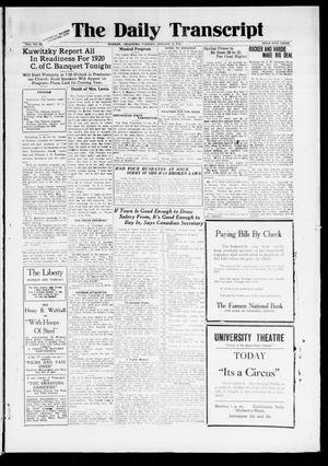 Primary view of object titled 'The Daily Transcript  (Norman, Okla.), Vol. 7, No. 242, Ed. 1 Tuesday, January 13, 1920'.