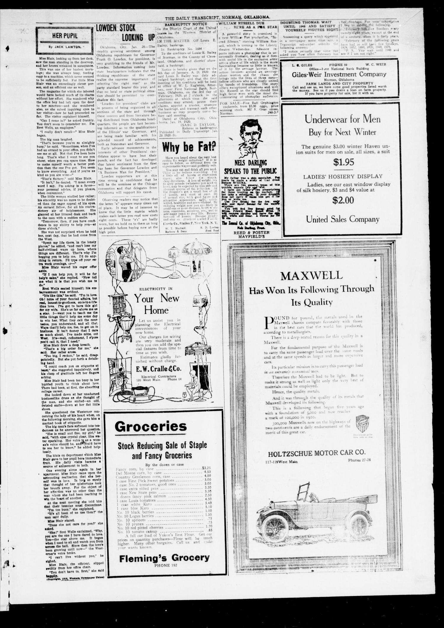 The Daily Transcript  (Norman, Okla.), Vol. 7, No. 248, Ed. 1 Tuesday, January 20, 1920                                                                                                      [Sequence #]: 3 of 4