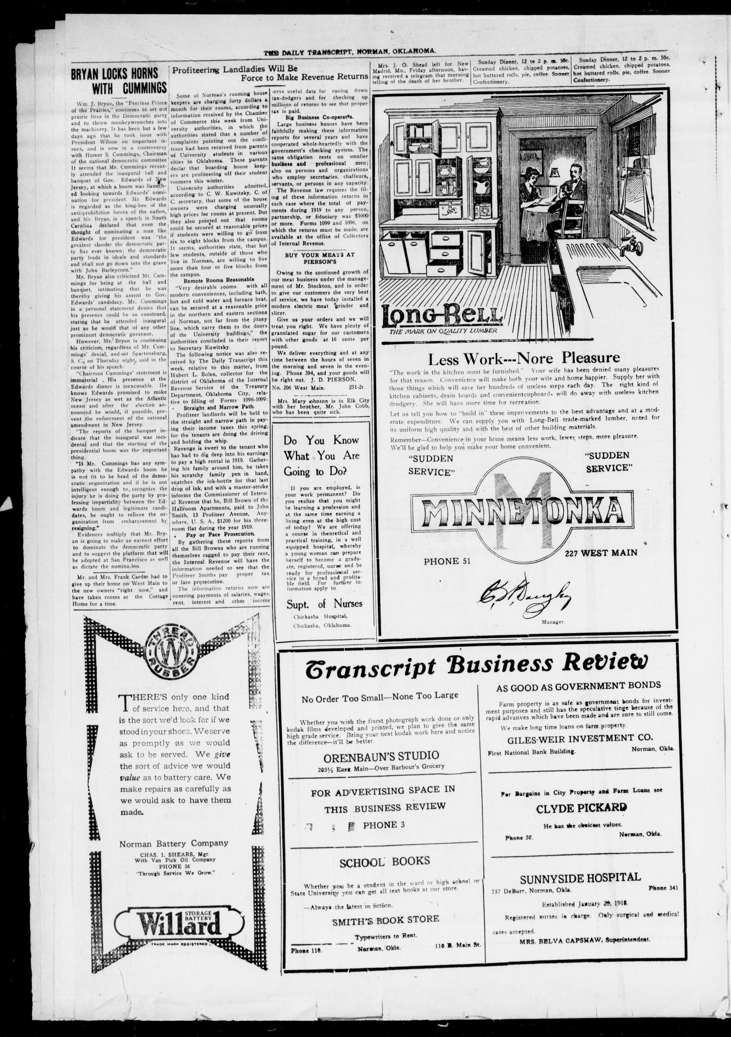 The Daily Transcript  (Norman, Okla.), Vol. 7, No. 252, Ed. 1 Sunday, January 25, 1920                                                                                                      [Sequence #]: 4 of 6