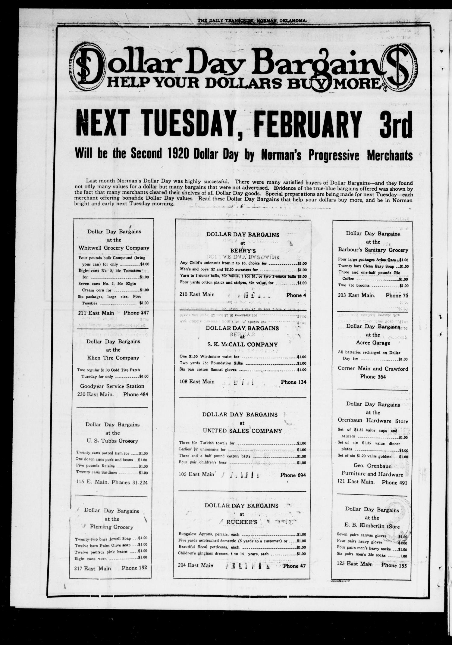 The Daily Transcript  (Norman, Okla.), Vol. 7, No. 258, Ed. 1 Sunday, February 1, 1920                                                                                                      [Sequence #]: 4 of 8