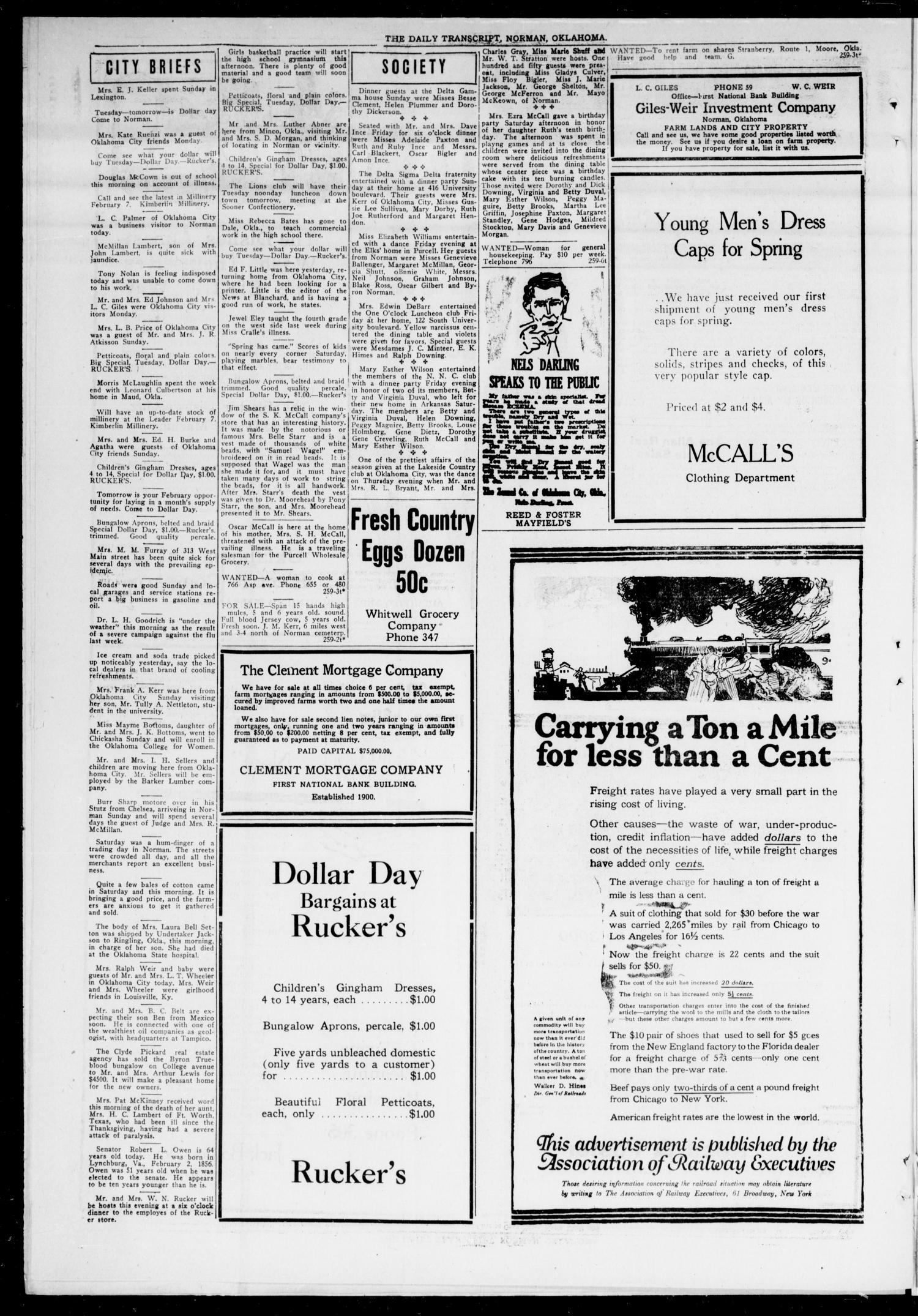 The Daily Transcript  (Norman, Okla.), Vol. 7, No. 259, Ed. 1 Monday, February 2, 1920                                                                                                      [Sequence #]: 4 of 4