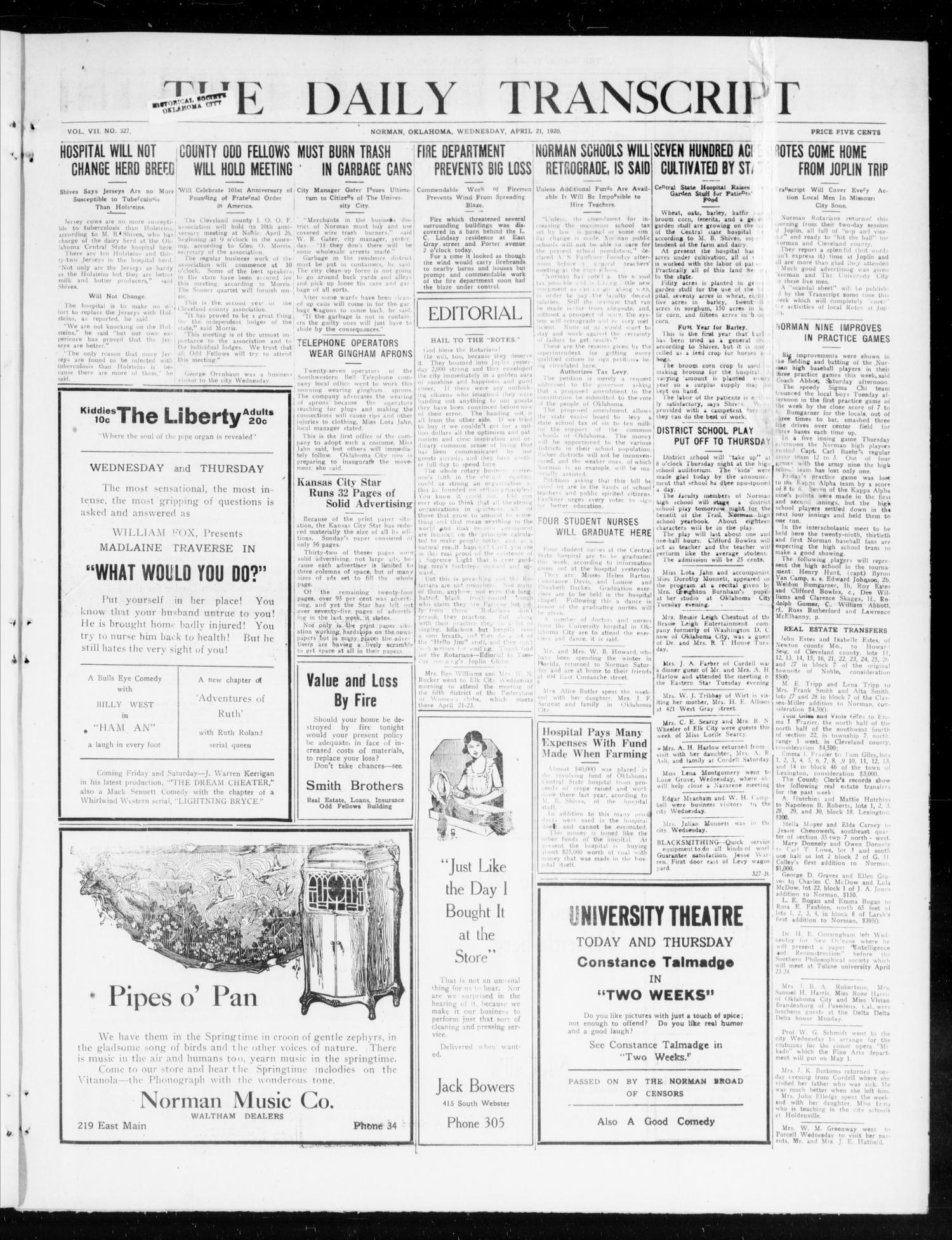 The Daily Transcript  (Norman, Okla.), Vol. 7, No. 327, Ed. 1 Wednesday, April 21, 1920                                                                                                      [Sequence #]: 1 of 4