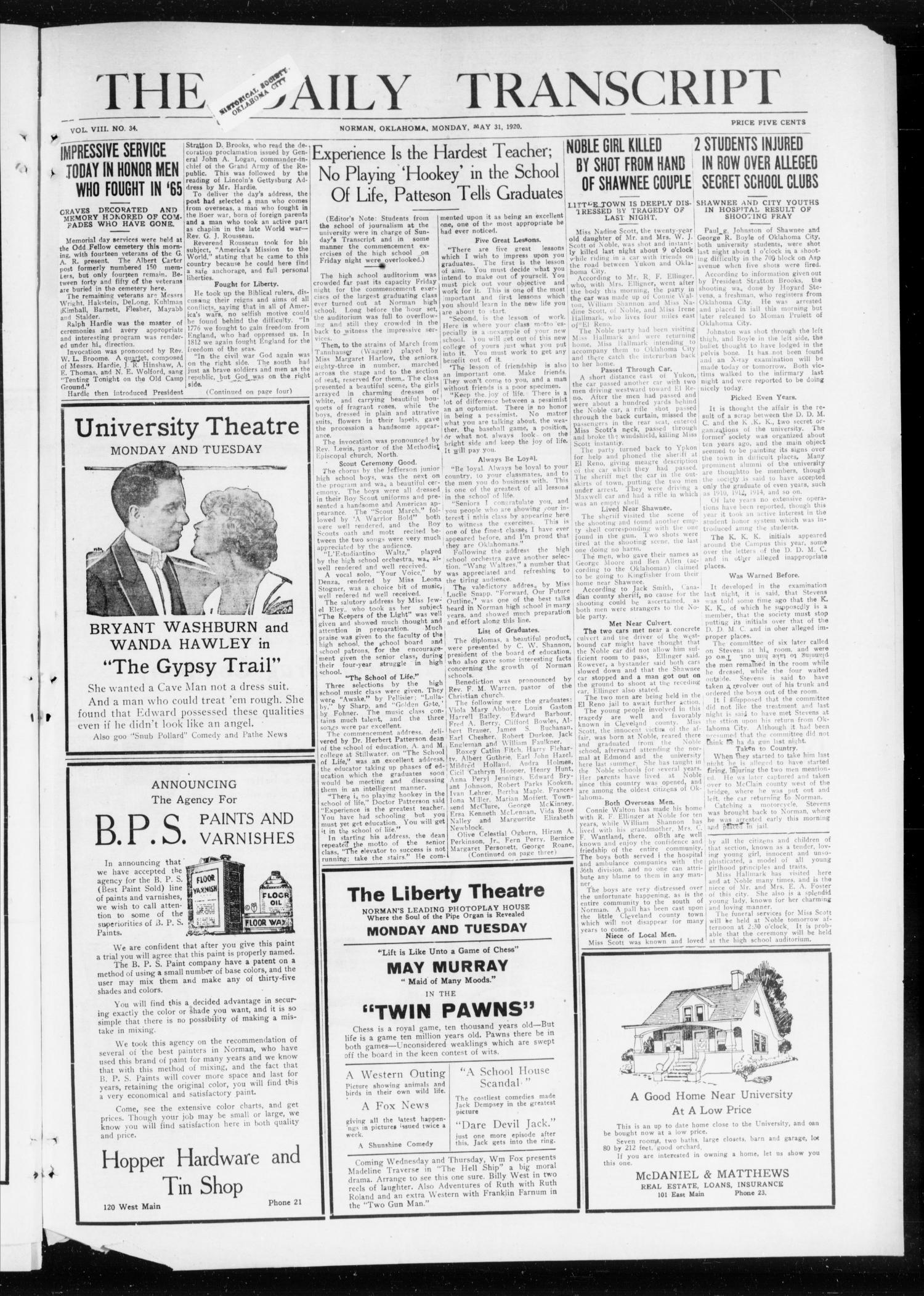 The Daily Transcript  (Norman, Okla.), Vol. 8, No. 34, Ed. 1 Monday, May 31, 1920                                                                                                      [Sequence #]: 1 of 4