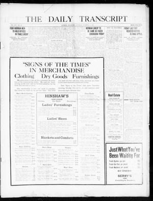 Primary view of object titled 'The Daily Transcript  (Norman, Okla.), Vol. 8, No. 155, Ed. 1 Thursday, October 21, 1920'.