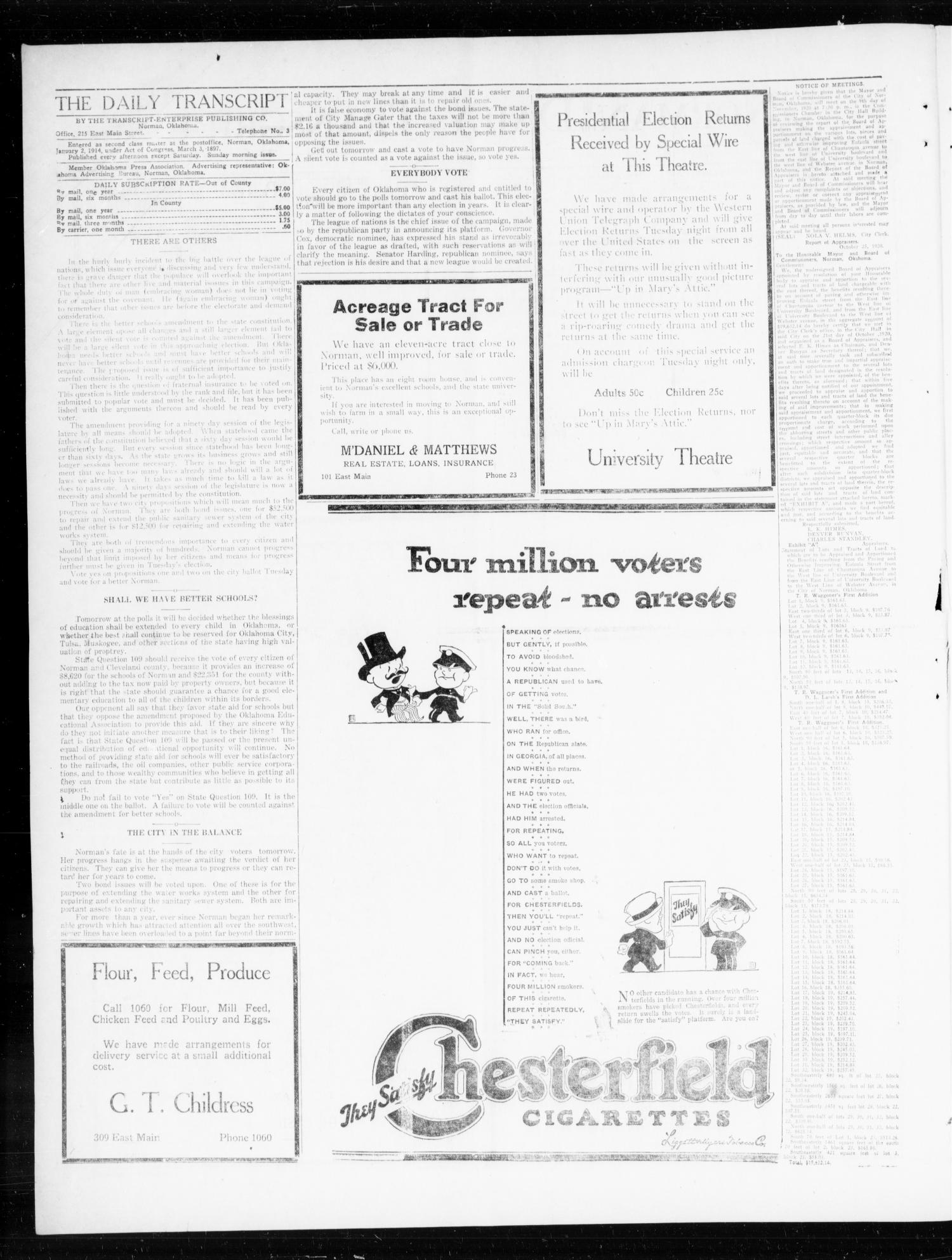 Norman Daily Transcript  (Norman, Okla.), Vol. 8, No. 164, Ed. 1 Monday, November 1, 1920                                                                                                      [Sequence #]: 2 of 4