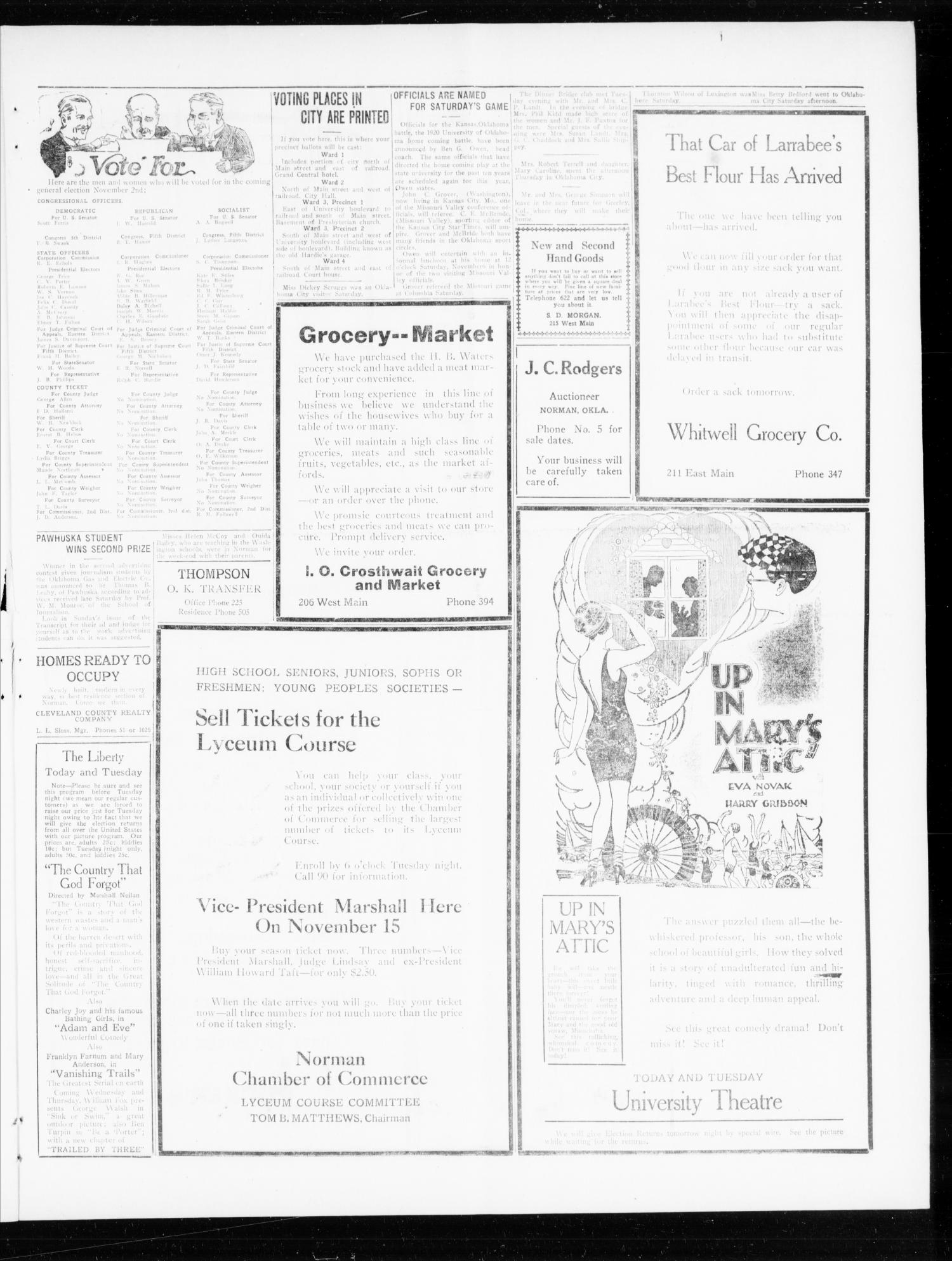 Norman Daily Transcript  (Norman, Okla.), Vol. 8, No. 164, Ed. 1 Monday, November 1, 1920                                                                                                      [Sequence #]: 3 of 4