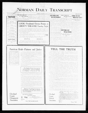 Norman Daily Transcript  (Norman, Okla.), Vol. 8, No. 164, Ed. 1 Monday, November 1, 1920