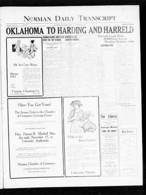 Primary view of object titled 'Norman Daily Transcript  (Norman, Okla.), Vol. 8, No. 167, Ed. 1 Thursday, November 4, 1920'.