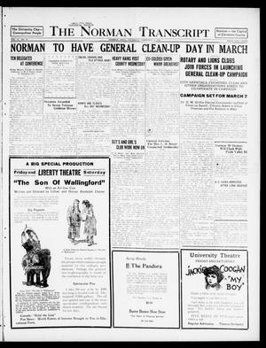 The Norman Transcript  (Norman, Okla.), Vol. 10, No. 24, Ed. 1 Thursday, February 23, 1922