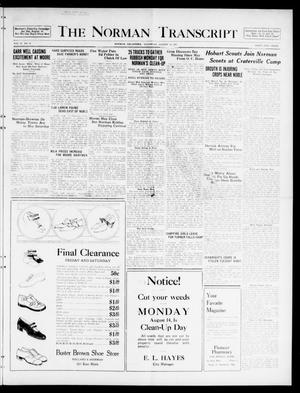 Primary view of object titled 'The Norman Transcript  (Norman, Okla.), Vol. 10, No. 96, Ed. 1 Thursday, August 10, 1922'.