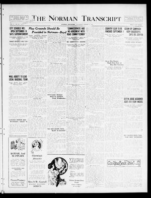 Primary view of object titled 'The Norman Transcript  (Norman, Okla.), Vol. 10, No. 99, Ed. 1 Thursday, August 17, 1922'.