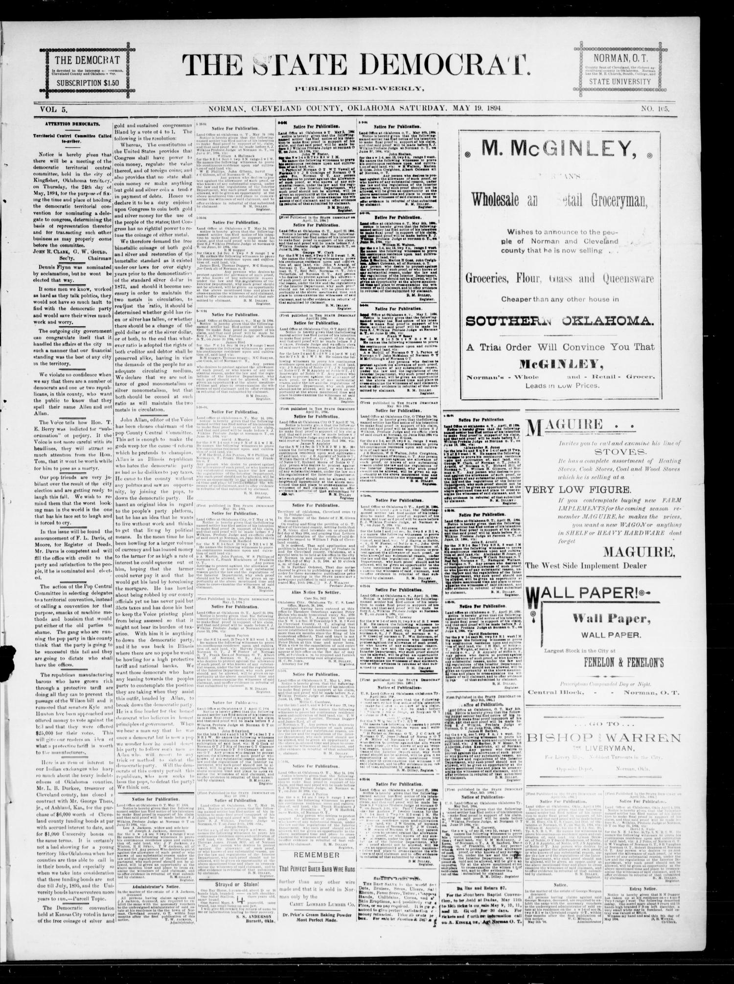The State Democrat. (Norman, Okla.), Vol. 5, No. 105, Ed. 1 Saturday, May 19, 1894                                                                                                      [Sequence #]: 1 of 4
