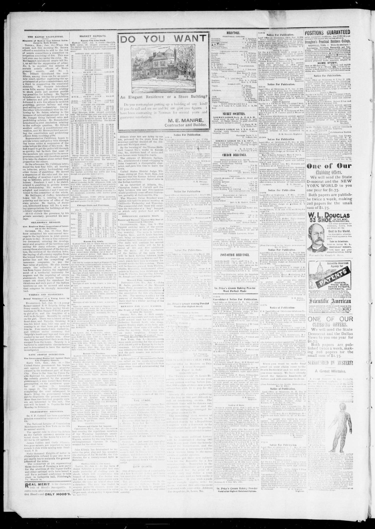 The State Democrat. (Norman, Okla.), Vol. 6, No. 71, Ed. 1 Saturday, January 12, 1895                                                                                                      [Sequence #]: 4 of 4