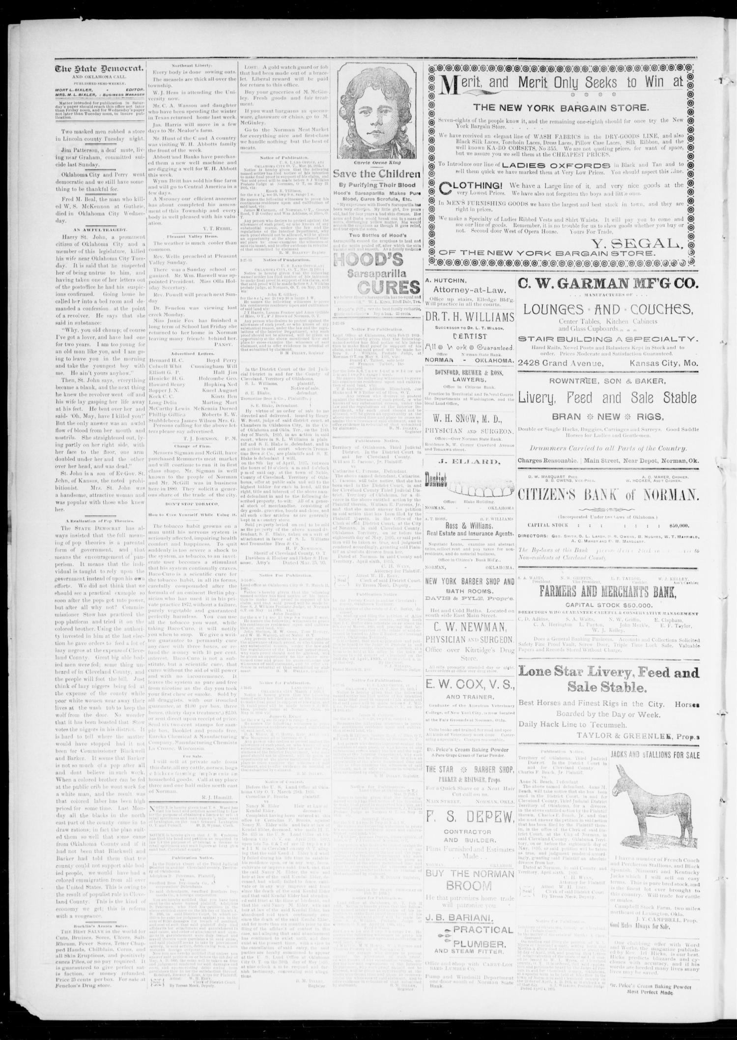 The State Democrat. (Norman, Okla.), Vol. 6, No. 95, Ed. 1 Saturday, April 6, 1895                                                                                                      [Sequence #]: 2 of 4
