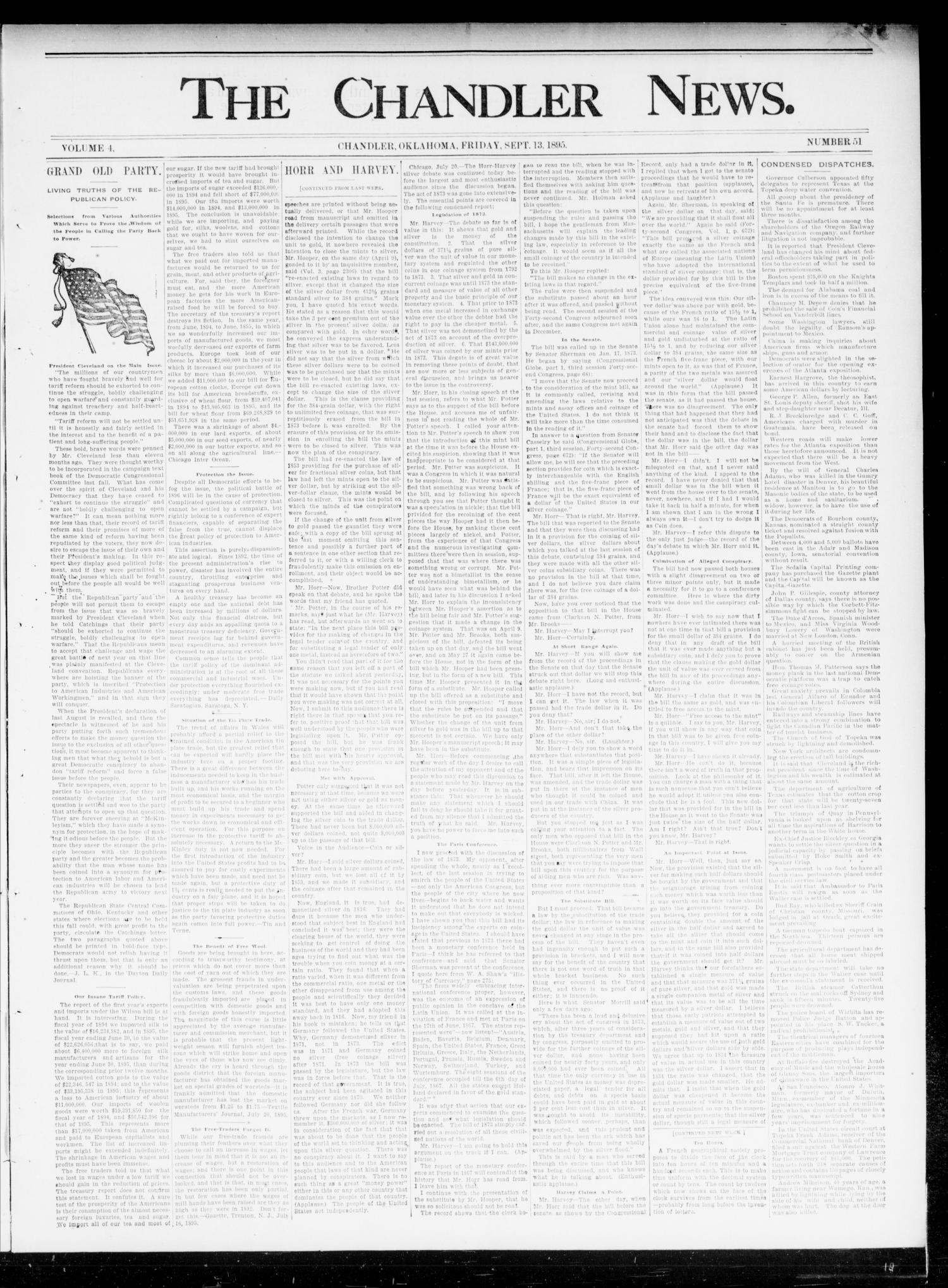 The Chandler News. (Chandler, Okla.), Vol. 4, No. 51, Ed. 1 Friday, September 13, 1895                                                                                                      [Sequence #]: 1 of 4