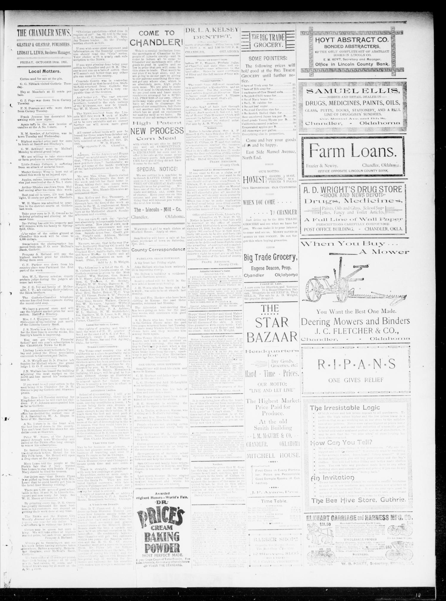 The Chandler News. (Chandler, Okla.), Vol. 5, No. 4, Ed. 1 Friday, October 18, 1895                                                                                                      [Sequence #]: 3 of 4