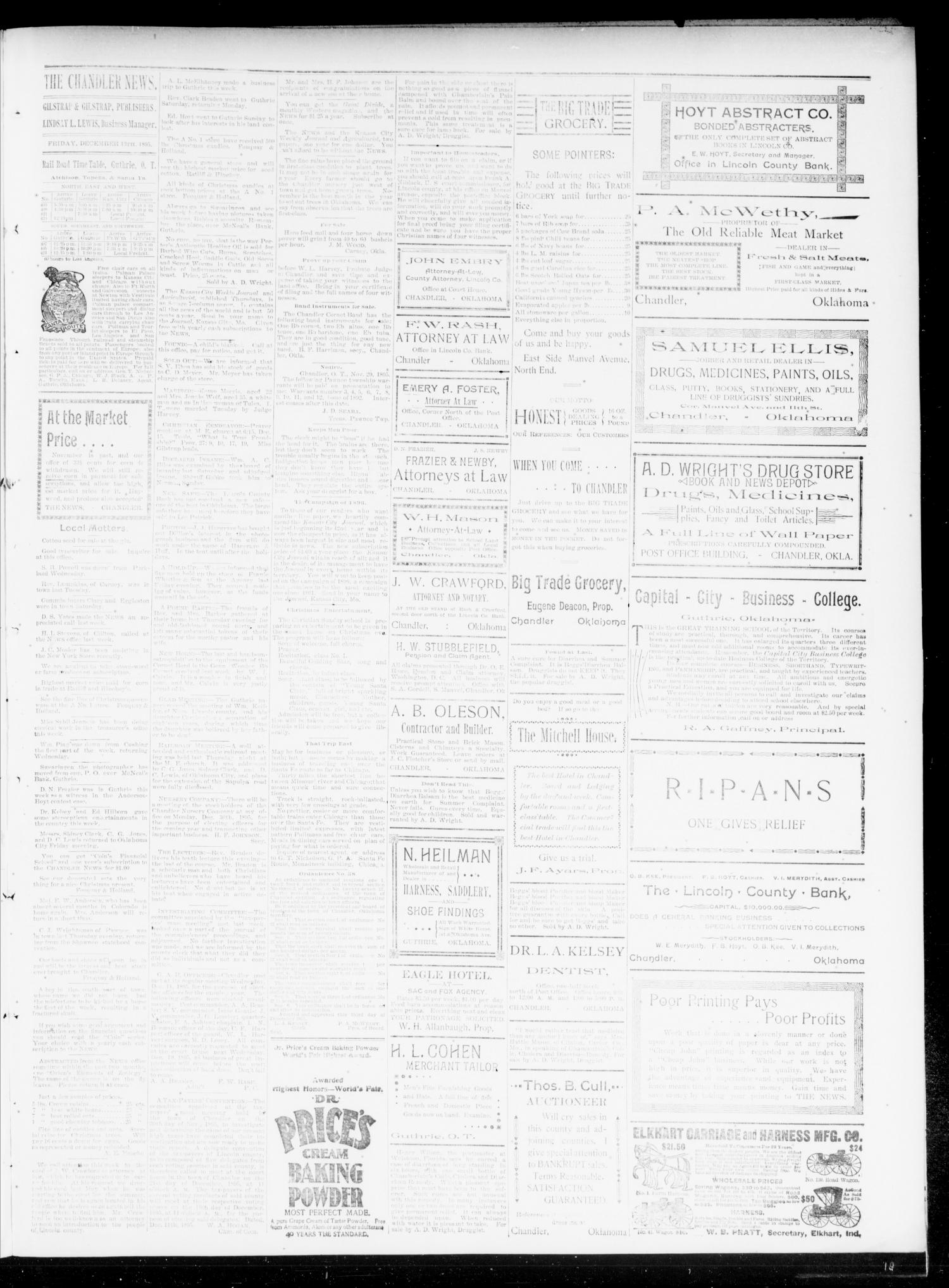 The Chandler News. (Chandler, Okla.), Vol. 5, No. 12, Ed. 1 Friday, December 13, 1895                                                                                                      [Sequence #]: 3 of 4
