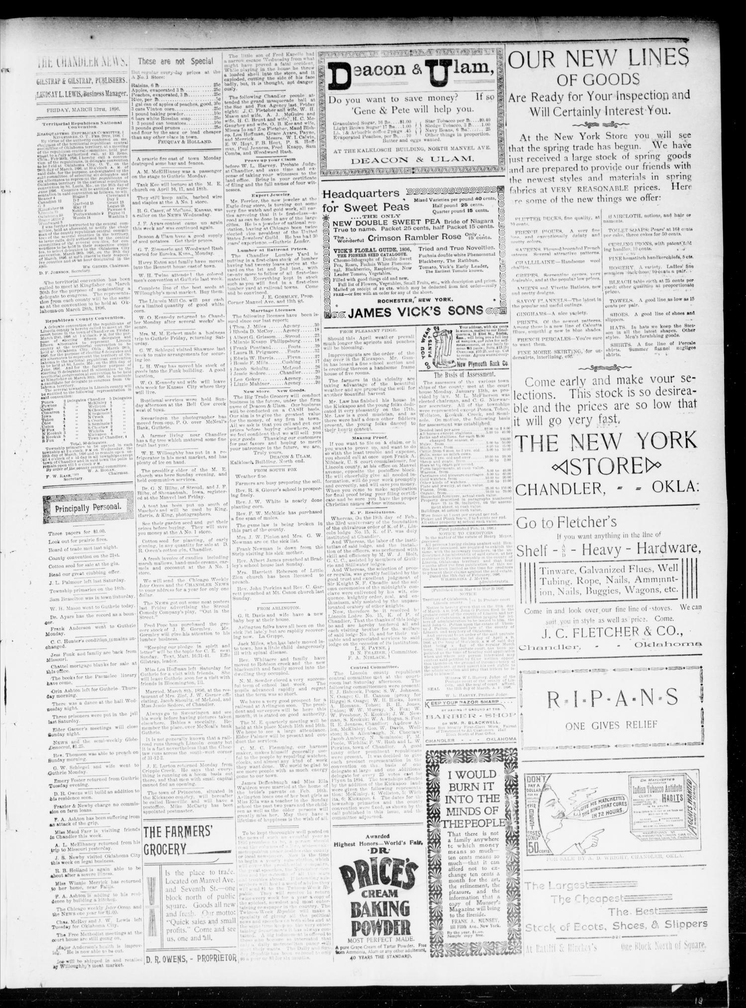 The Chandler News. (Chandler, Okla.), Vol. 5, No. 25, Ed. 1 Friday, March 13, 1896                                                                                                      [Sequence #]: 3 of 4