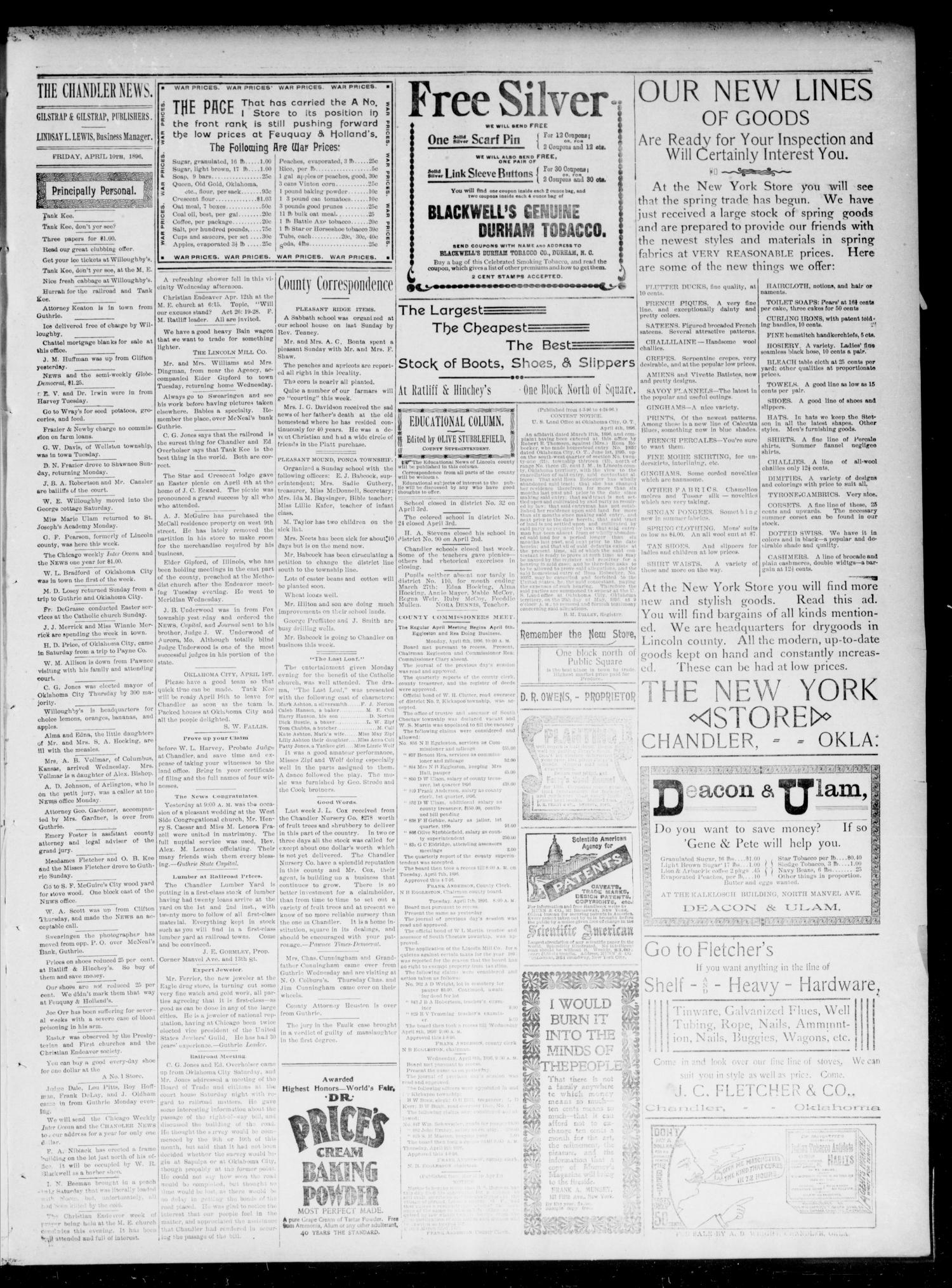 The Chandler News. (Chandler, Okla.), Vol. 5, No. 29, Ed. 1 Friday, April 10, 1896                                                                                                      [Sequence #]: 3 of 4