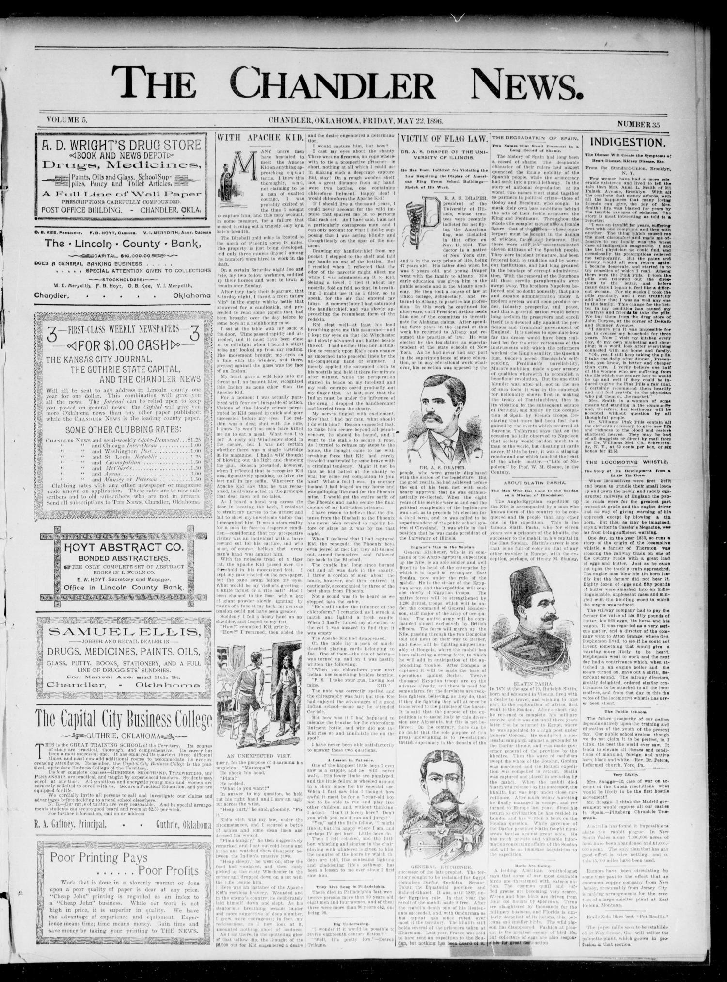 The Chandler News. (Chandler, Okla.), Vol. 5, No. 35, Ed. 1 Friday, May 22, 1896                                                                                                      [Sequence #]: 1 of 4