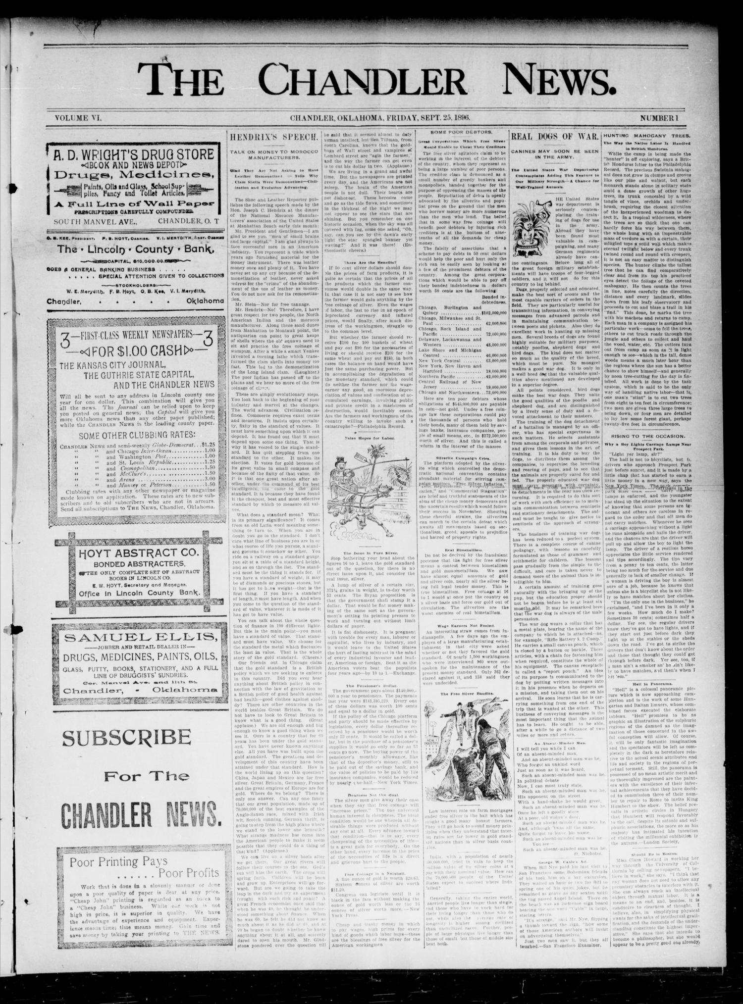 The Chandler News. (Chandler, Okla.), Vol. 6, No. 1, Ed. 1 Friday, September 25, 1896                                                                                                      [Sequence #]: 1 of 6
