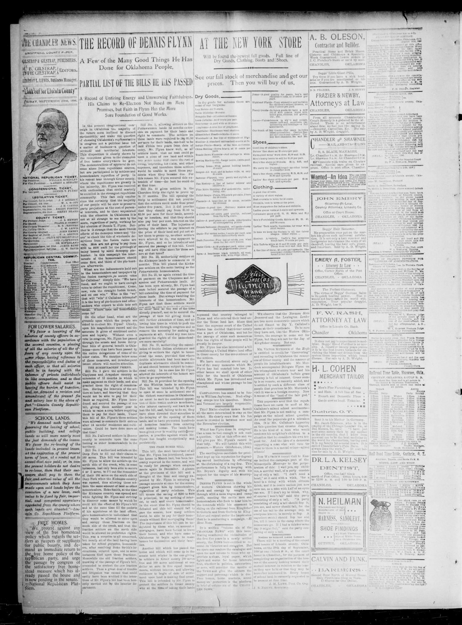 The Chandler News. (Chandler, Okla.), Vol. 6, No. 1, Ed. 1 Friday, September 25, 1896                                                                                                      [Sequence #]: 2 of 6
