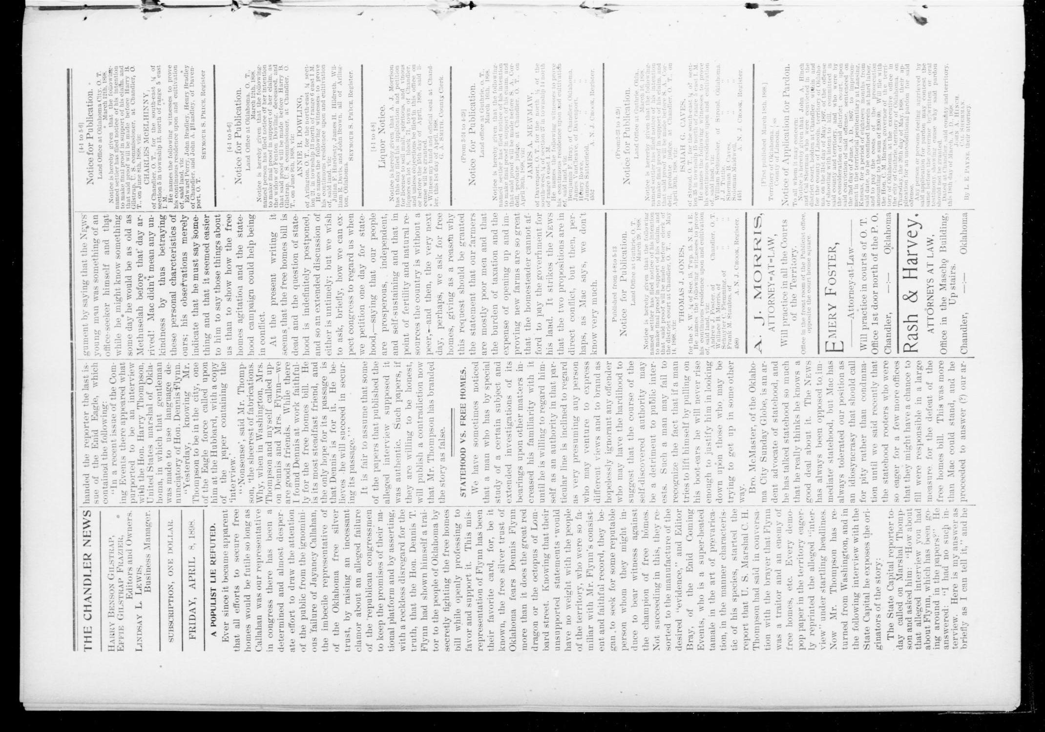 The Chandler News. (Chandler, Okla.), Vol. 7, No. 29, Ed. 1 Friday, April 8, 1898                                                                                                      [Sequence #]: 4 of 10
