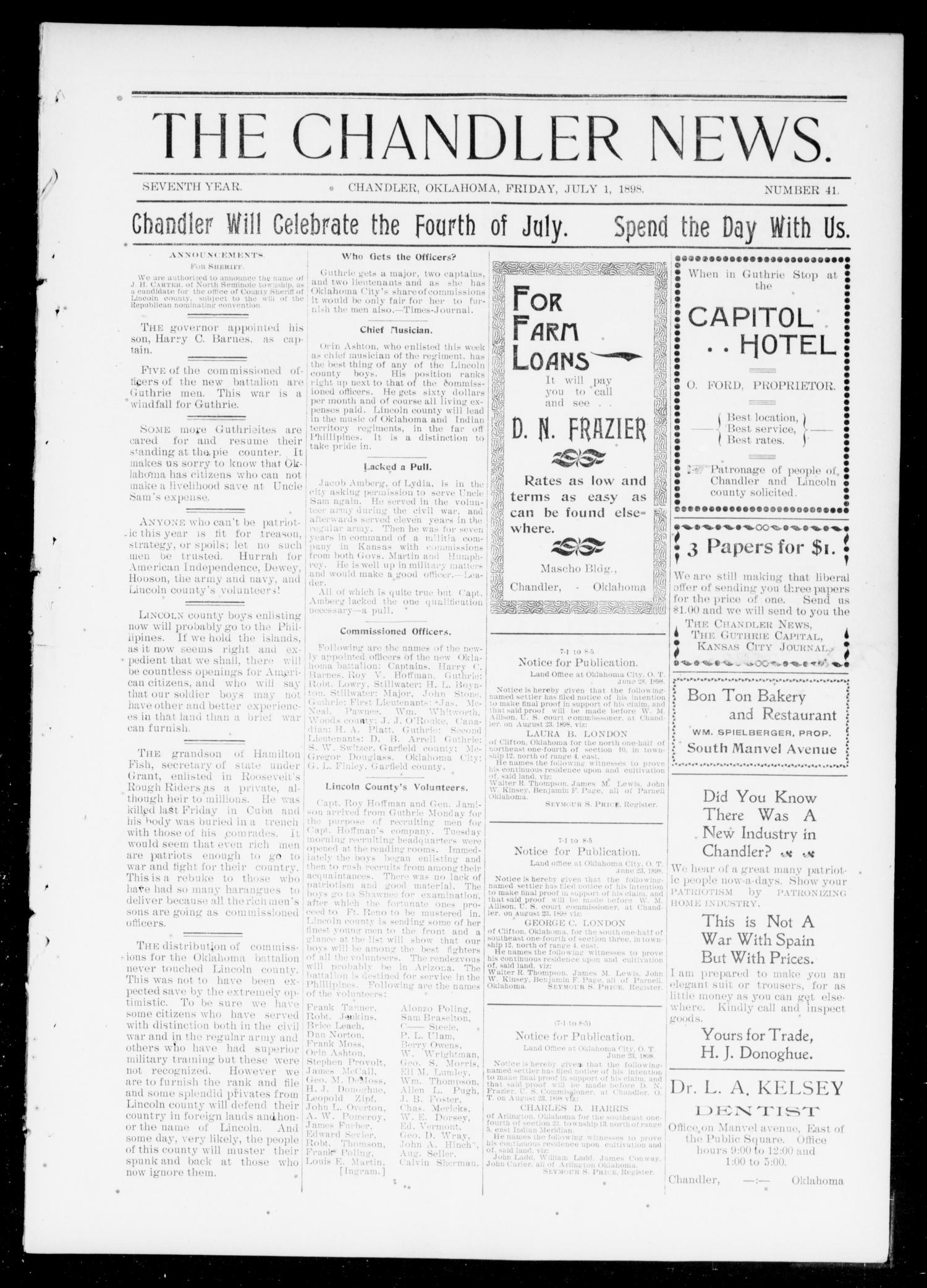 The Chandler News. (Chandler, Okla.), Vol. 7, No. 41, Ed. 1 Friday, July 1, 1898                                                                                                      [Sequence #]: 1 of 10