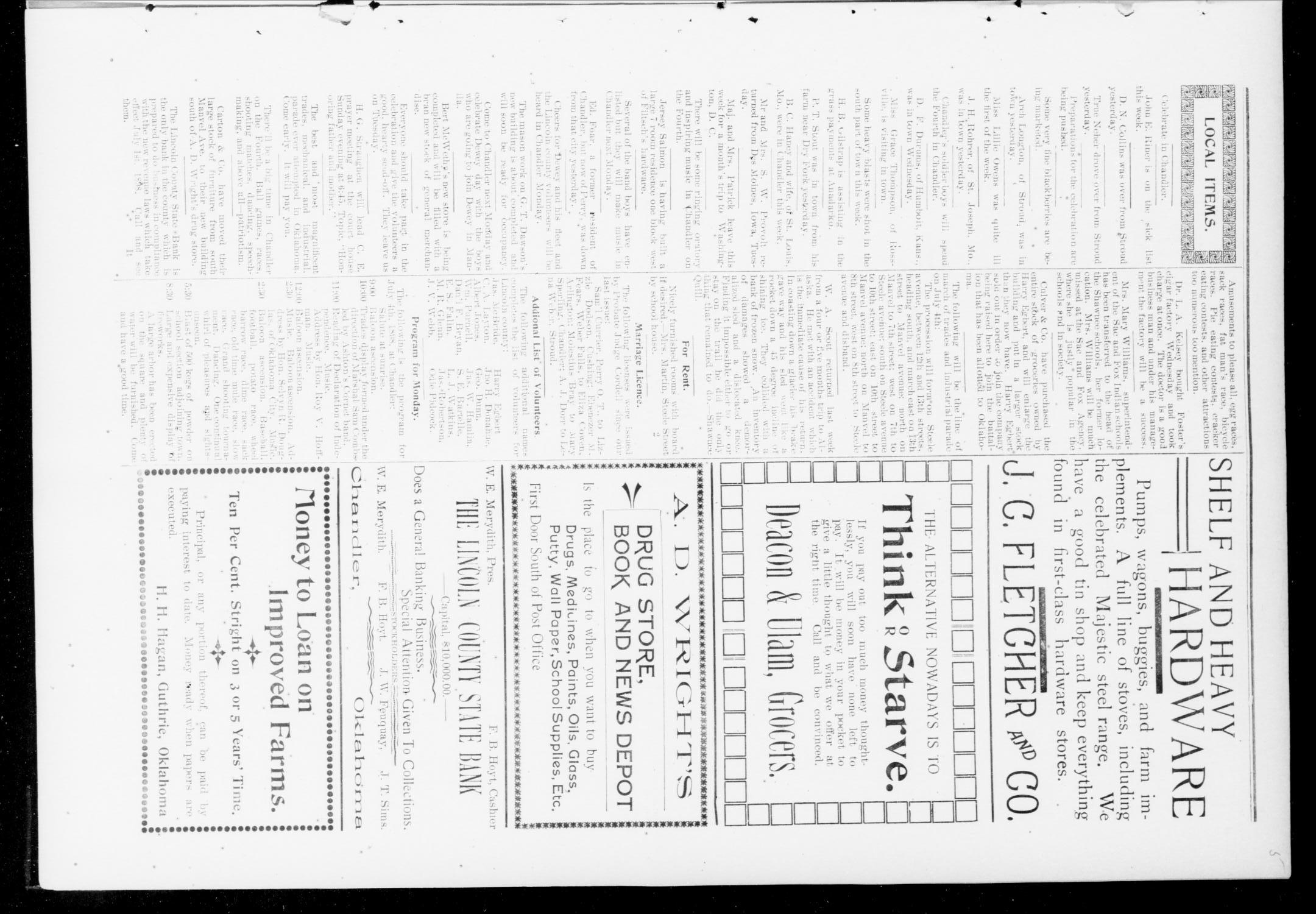 The Chandler News. (Chandler, Okla.), Vol. 7, No. 41, Ed. 1 Friday, July 1, 1898                                                                                                      [Sequence #]: 5 of 10