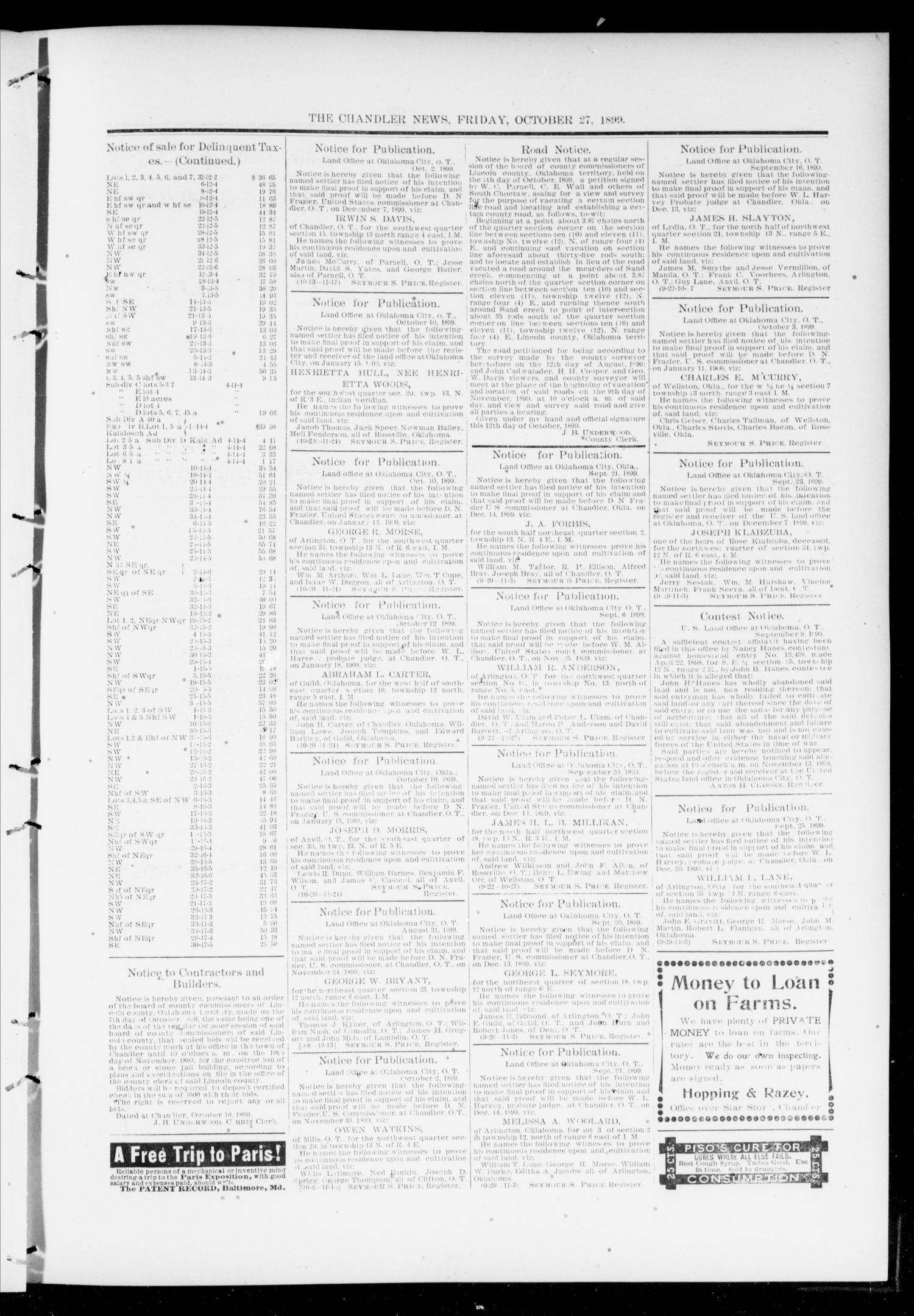 The Chandler News. (Chandler, Okla.), Vol. 9, No. 6, Ed. 1 Friday, October 27, 1899                                                                                                      [Sequence #]: 9 of 10