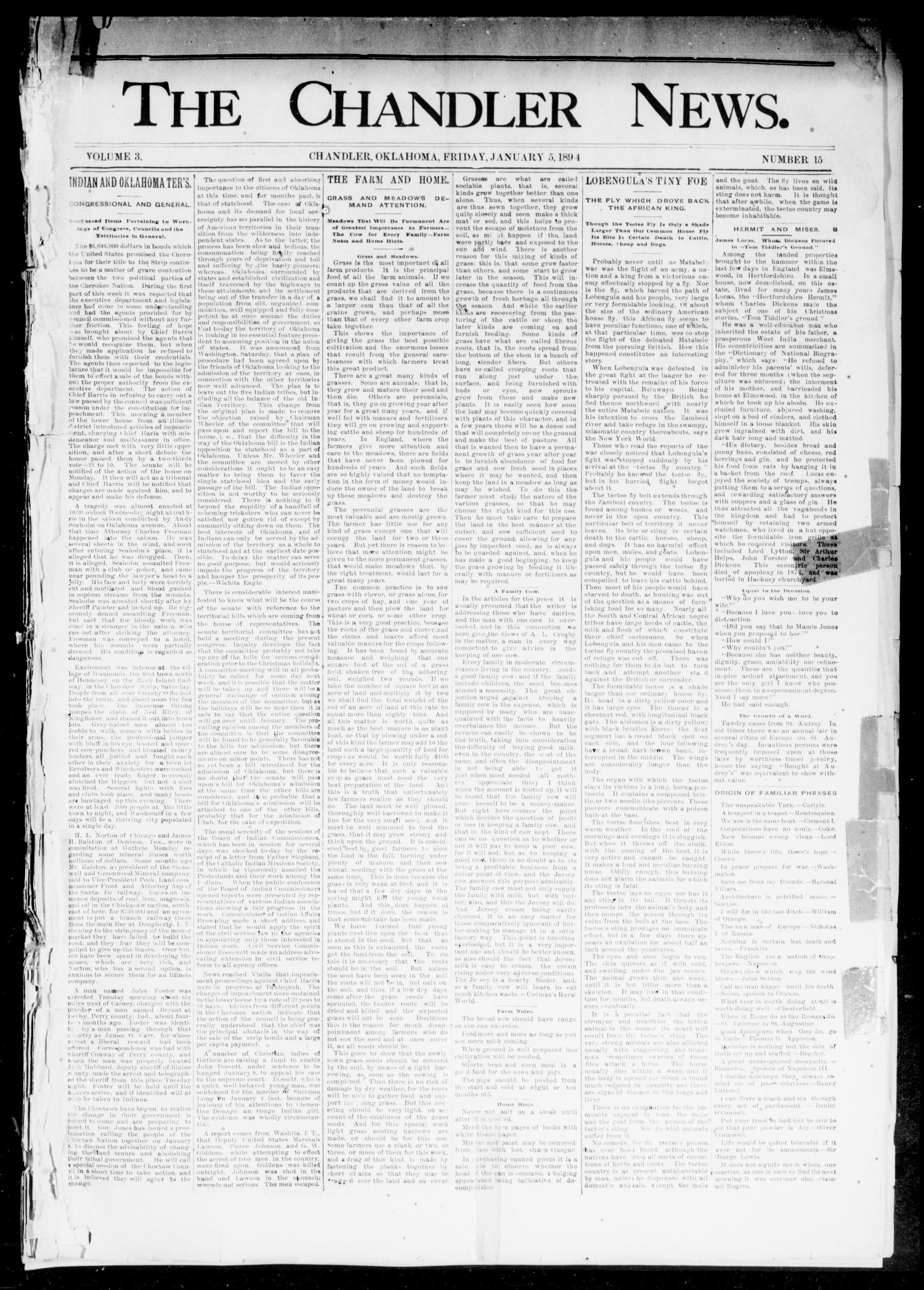 The Chandler News. (Chandler, Okla.), Vol. 3, No. 15, Ed. 1 Friday, January 5, 1894                                                                                                      [Sequence #]: 1 of 8