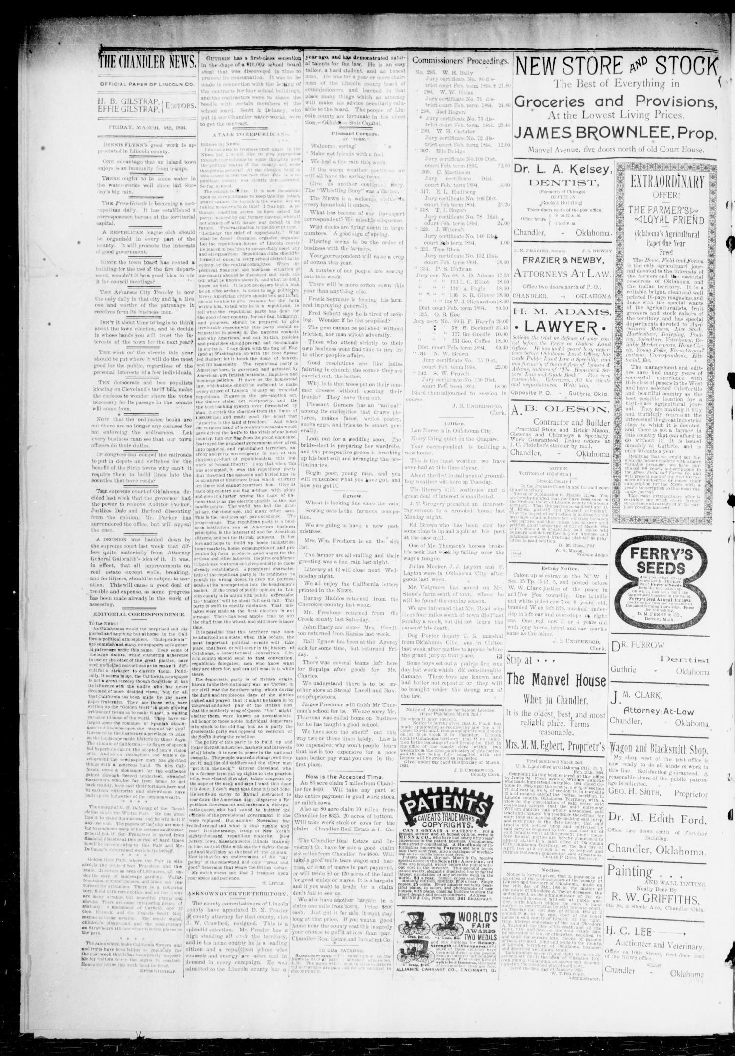 The Chandler News. (Chandler, Okla.), Vol. 3, No. 24, Ed. 1 Friday, March 9, 1894                                                                                                      [Sequence #]: 4 of 8