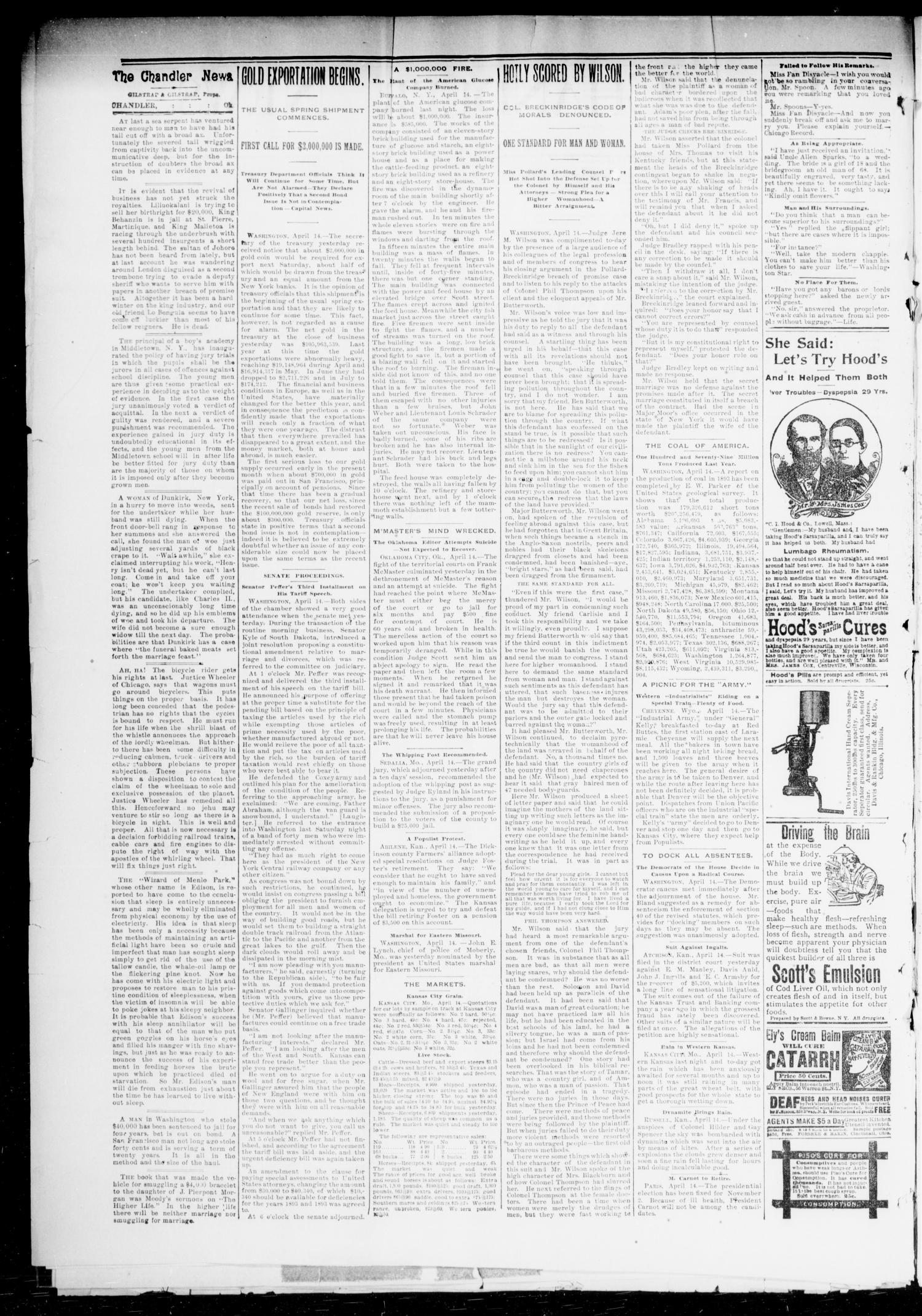 The Chandler News. (Chandler, Okla.), Vol. 3, No. 30, Ed. 1 Friday, April 20, 1894                                                                                                      [Sequence #]: 2 of 8