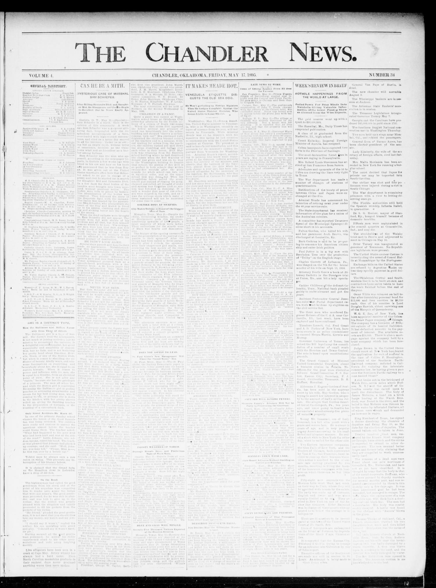 The Chandler News. (Chandler, Okla.), Vol. 4, No. 34, Ed. 1 Friday, May 17, 1895                                                                                                      [Sequence #]: 1 of 4