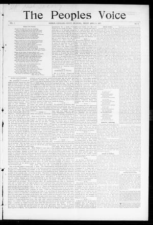 Primary view of object titled 'The Peoples Voice (Norman, Okla.), Vol. 5, No. 40, Ed. 1 Friday, April 30, 1897'.