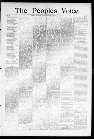 Primary view of object titled 'The Peoples Voice (Norman, Okla.), Vol. 5, No. 46, Ed. 1 Friday, June 11, 1897'.