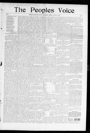 Primary view of object titled 'The Peoples Voice (Norman, Okla.), Vol. 6, No. 3, Ed. 1 Friday, August 13, 1897'.