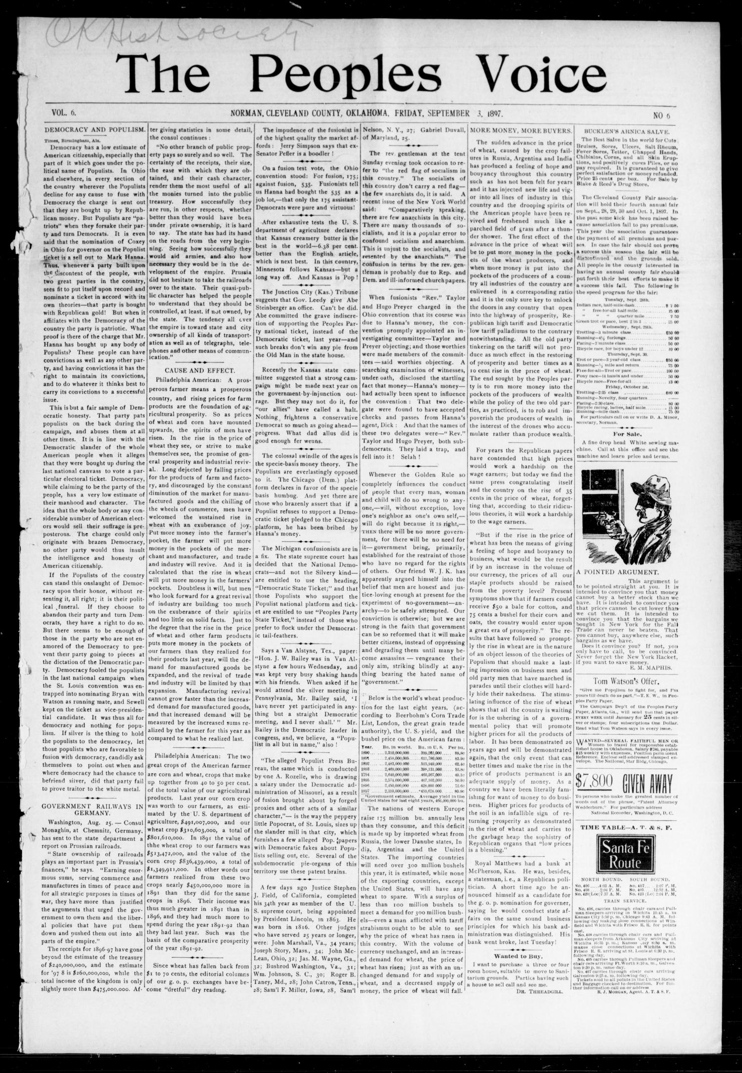 The Peoples Voice (Norman, Okla.), Vol. 6, No. 6, Ed. 1 Friday, September 3, 1897                                                                                                      [Sequence #]: 1 of 8