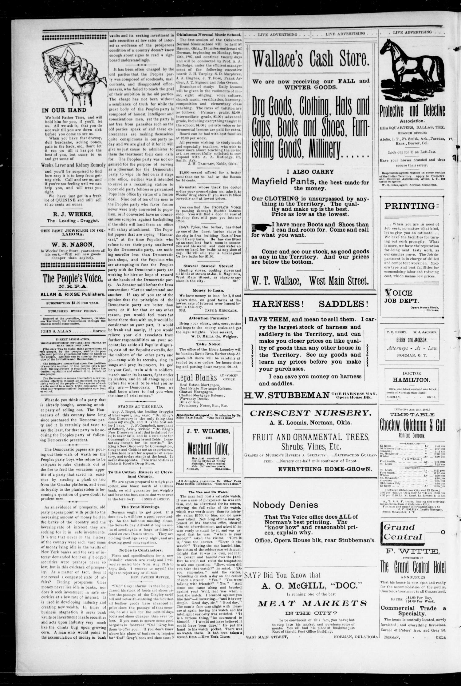 The Peoples Voice (Norman, Okla.), Vol. 6, No. 6, Ed. 1 Friday, September 3, 1897                                                                                                      [Sequence #]: 4 of 8